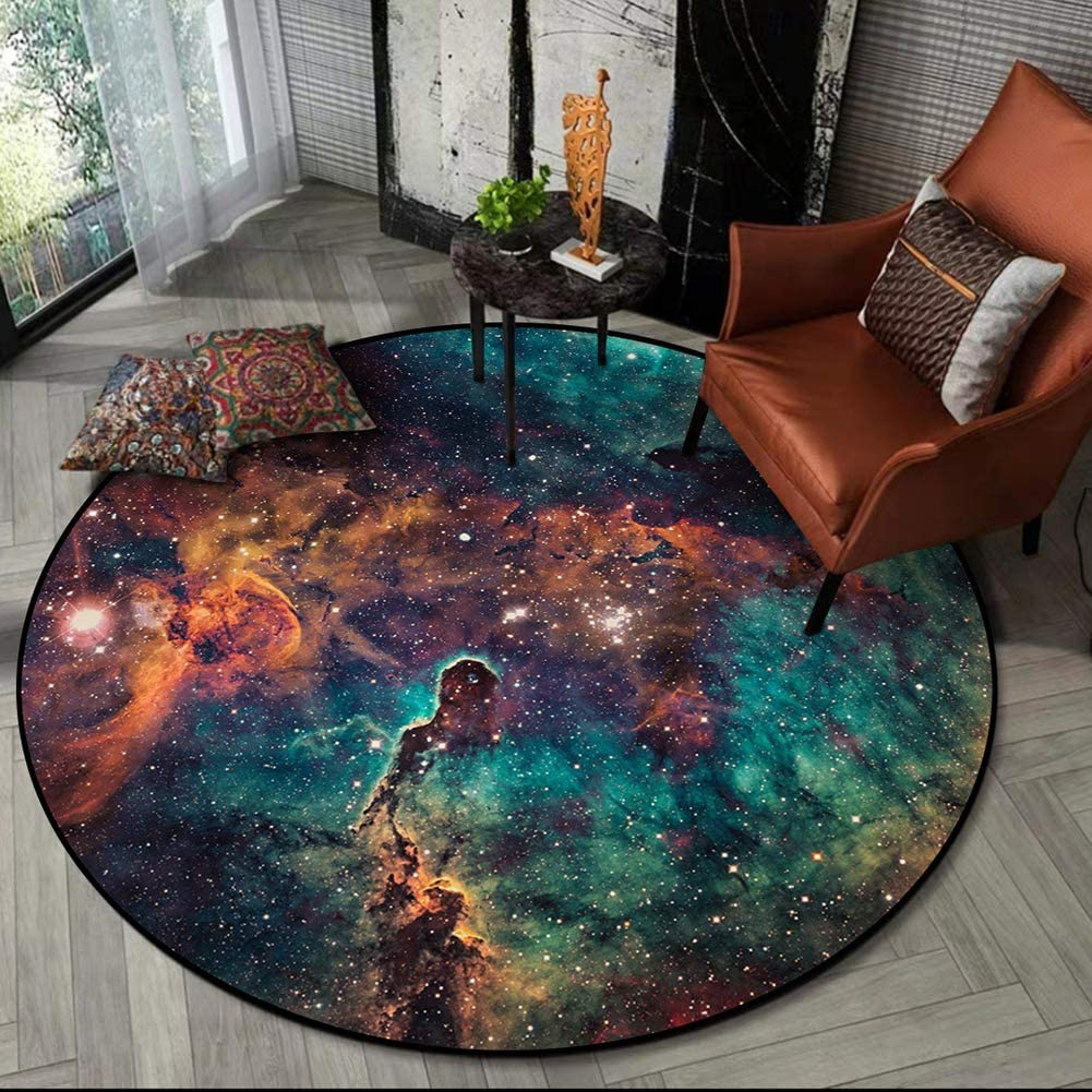 Galaxy Round Rugs Universe In a popularity Space Carpet Starry Lar Stars Nebula Memphis Mall