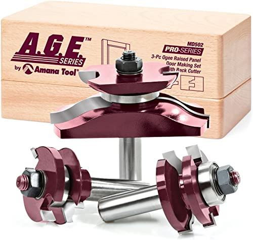 lowest A.G.E. popular Series by high quality Amana Tool MD502 Raised Panel Door Making Carbide Tipped Router Bit Set with Back Cutter with 1/2-Inch Shank, 3-Piece outlet sale
