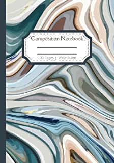 """Composition Notebook Wide Rule: Liquid Marble Standard wide ruled composition notebook journal for kids 