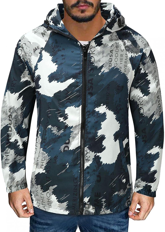 SUIQU Men's Autumn Jackets with Hood Fashion Printed Drop Sleeves Long Sleeve Casual Sports Hooded Windbreaker Jacket