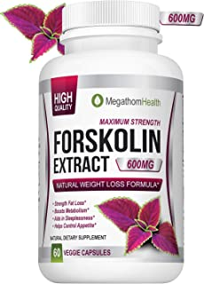 Forskolin for Weight Loss Diet Pills - 600mg Extract 40% Pure Standardized | Strenght Fat Loss, Boosts Metabolism, Aids in Sleeplessness, Helps Controle Appetite | Natural Supplement
