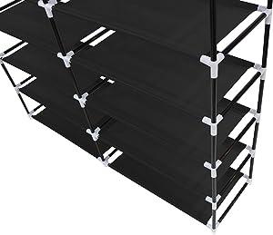 Todeco - Armadio, Guardaroba - Materiale: Tubi in Acciaio Inossidabile - Tipo di Chiusura: Parti in Velcro e Zip - 2 Porte, Scarpiera, 114 x 110 x 28 cm, Nero