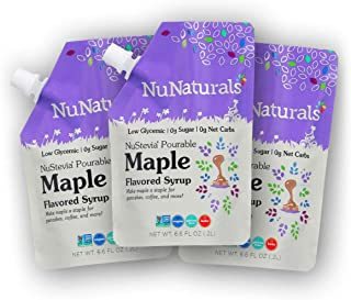 NuNaturals Maple Flavored Syrup, Natural Plant Based Sweetener, Sugar-Free, 3 Pack 6.6 oz