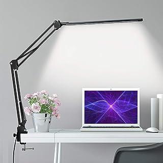 چراغ میز LED ، چراغ میز بازوی فلزی با گیره ، لامپ میز مراقبت از چشم ، لامپ میز معماری با 3 حالت رنگی ، 10 روشنایی قابل تنظیم ، عملکرد حافظه ، 12 وات ، لامپ های میز اداری برای مطالعه و کار
