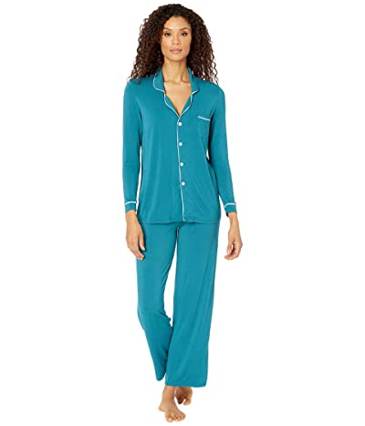 Kickee Pants Collared Pajama Set (Oasis/Jade) Women