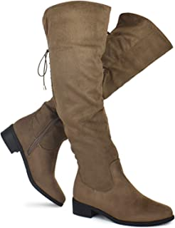 Premier Standard -Women's Lace Thigh High Over The Knee Riding Boots - Side Zipper Comfy Vegan Suede