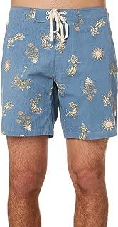 Rhythm Men's Souvenirs Mens Boardshort Cotton Fitted Blue