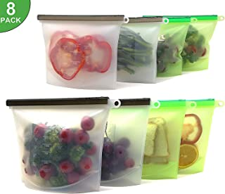 Reusable Silicone Storage Bags,Ideal for Liquid/Snack/Fruit/Vegetables | Airtight Seal,Ziplock,Bpa Free,Microwave Freezer Safe,Dishwasher Safe Designed | Pack of 8 & 4x50oz+4x30oz