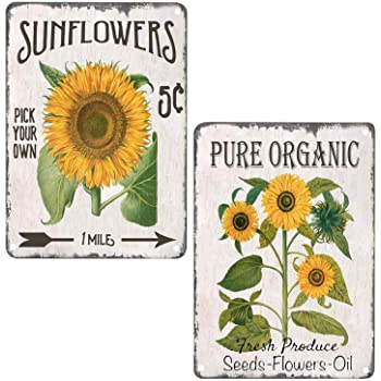 Kitchen Bathroom 2pcs 8x12inch Living Room Pxiyou Rustic Sunflower Flower Painting Vintage Tin Sign Country Home Decor For Com Signs Plaques