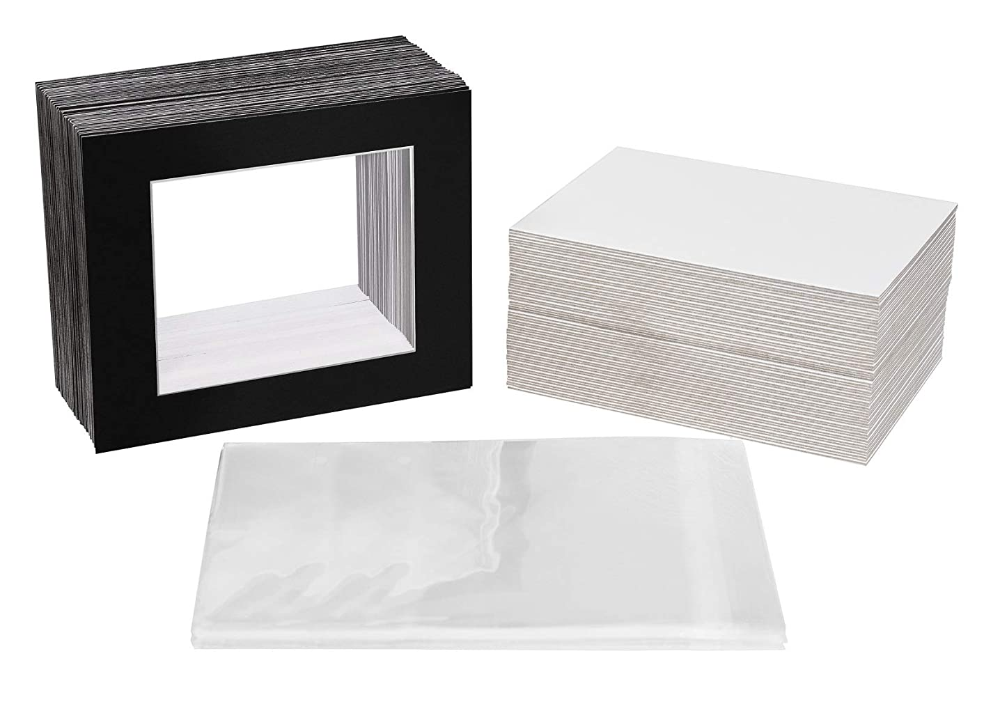 Golden State Art, Acid Free, Pack of 50 11x14 Black Picture Mats Mattes with White Core Bevel Cut for 8x10 Photo + Backing + Bags