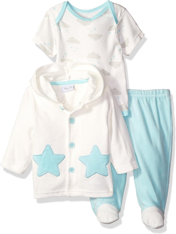 Rene Rofe Baby Baby 3 Piece Velour Jacket Set with Pant & Lap Shoulder Bodysuit
