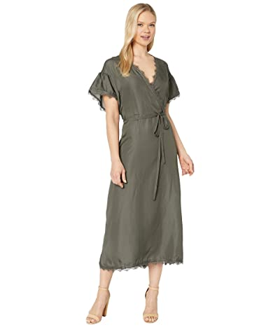American Rose Reagan Short Sleeve Wrap Dress with Lace Trim (Deep Pine) Women