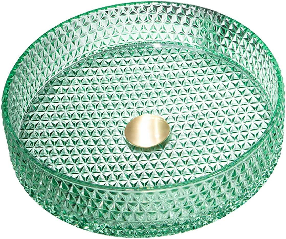 SHUGUANG Lavabo de Vidrio, Lavabo Cristal Cilíndrico Lavamanos Cristal Baño, Lavabo sobre Encimera para Baño con Anillo de Montaje, Drenaje de Agua, 400×400×105mm,Verde