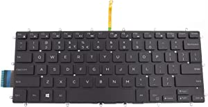 US Backlit Frameless(Without Frame) White Print (White Characters) Keyboard Compatible with DELL Inspiron 14-7460 14-7466 14-7467 14-7472 0H4XRJ H4XRJ