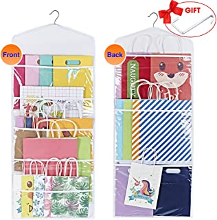ProPik Hanging Double Sided Gift Bag Storage Organizer with Multiple Front and Back Pockets Organize Your Gift Wrap and Paper Bags 38 x 16 Inch Black White and Clear PVC (White)