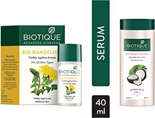 Biotique Bio Dandelion Visibly Ageless Serum, 40 ml and Biotique Bio Creamy Coconut Ultra-Rich Body Lotion for Extra Dry S...