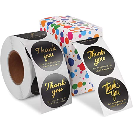 Weddings Birthday 2 Rolls Adhesive Small Stickers for Boutiques Thank You Stickers Round Stickers Antter 1000 PCS Thank You for Supporting My Small Business Stickers Thanksgiving