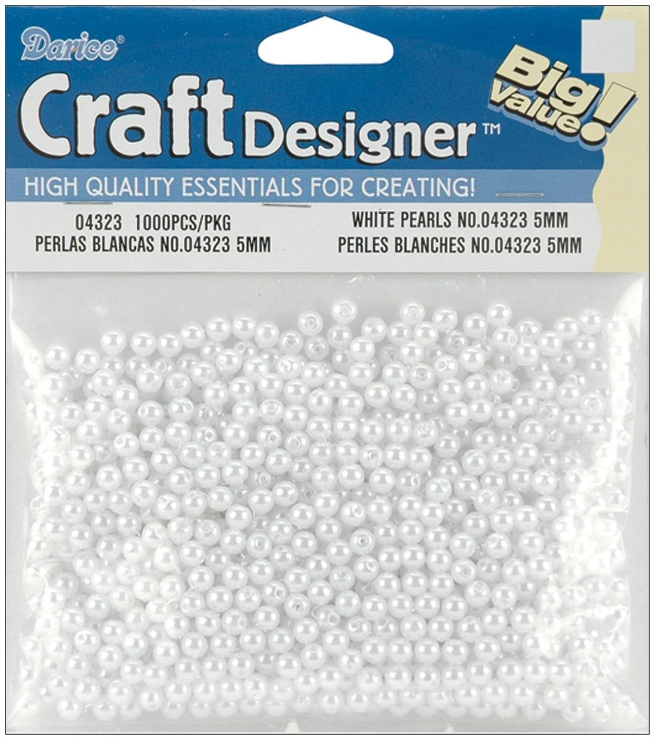 Darice 4323 1000-Piece Round Pearl Bead, 5mm, White