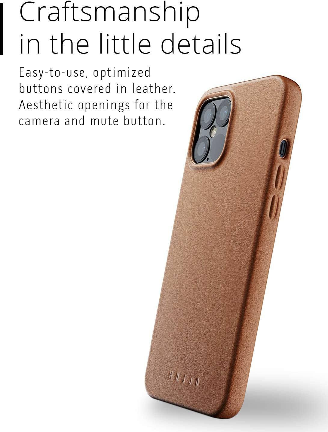Mujjo Full Leather Case for iPhone 12 Pro Max Tan Super Slim Fit Design Premium Genuine Leather Natural Aging Effect Wireless Charging