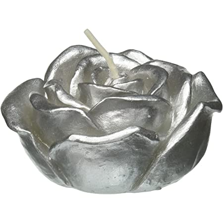 Metallic Silver Rose 3-Inch Zest Candle 12-Piece Folding Candles