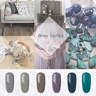 MIYOUNE Gray-Blue Series Gel Nail Polish Lacquer, Soak Off 6 Colors UV/LED Gel Nail Polish Set, 0.25fl.oz