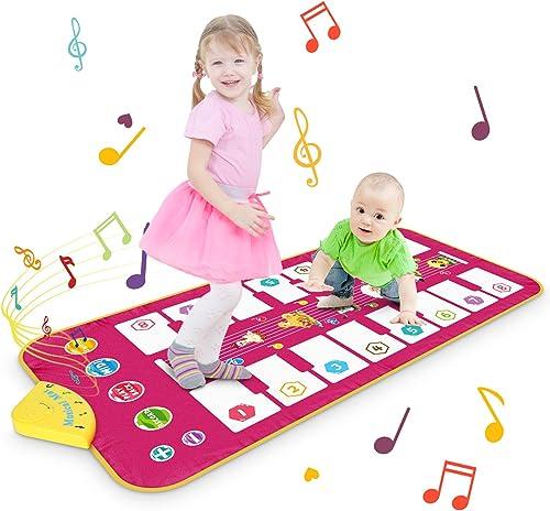 Magicfun Tapis de Jeu pour Piano, Tapis de Musique Tapis de Danse avec 7 Sons d'animaux et 8 Mélodies, Jouets Educati...