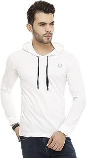 Leemarts Soild Mens White Hooded Full Sleeves Mens T-Shirt