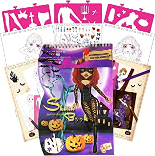 SuperStyle Drawing Stencils and Coloring Book for Kids Age 3-8, Fashion Design Coloring Book Includes Mask and Pumpkins, 2...