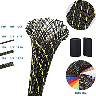 PET Expandable Braided Sleeving 0.75 Inch Flexo Cable Sleeve Braided Sleeve for Braided Wire Sleeve Management Cord Protector 25 FT BlackYellow Cable Sleeve