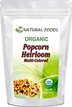 Raw Organic Heirloom Popcorn Kernels - 2 lb - Multi-colored - Low Calorie High Fiber Snack Perfect For Movie Night - Made ...