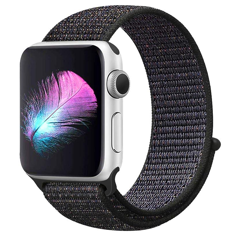 パイコミュニケーション脅かすアップルウォッチバンド42mmナイロンスポーツバンド iWatchバンド44mm ストラップ交換バンドApple Watch Series5/4/3/2/1に対応 (42mm/44mm, 黒)