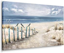 Yihui Arts Beach Canvas Wall Art Hand Painted 3D Seascape Oil Painting Ocean Coastal Blue Picture For Bed Room Decor