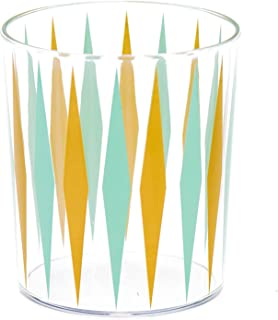 Sugar & Cloth Retro Diamond Print Plastic Tumbler Glass Set, 8-Piece
