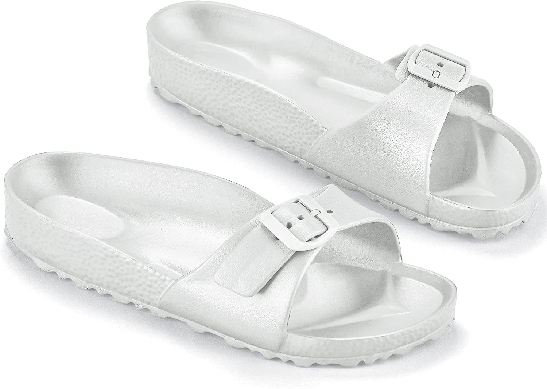 Collections Etc Lightweight & Waterproof Comfort Slip-On Slide Sandals White
