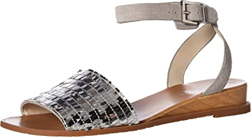 Kenneth Cole New York Wohommes Wohommes Wohommes Jinny Flat Sandal with Ankle Strap, argent, 8.5 M US 42c