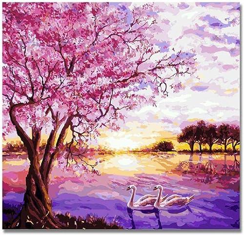 Las ventas en línea ahorran un 70%. Jjyyh Pintura por por por Números Swan Lake Pareja 80X100Cm DIY Preimpreso Lienzo Regalo De Pintura Al óleo para Adultos Niños Pintura por Número Kits para La Decoración Casera  solo para ti