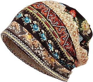 Pingtr Womens Soft Cotton Boho Ethnic Flower Print Stripe Slouch Beanie Infinity Scarf