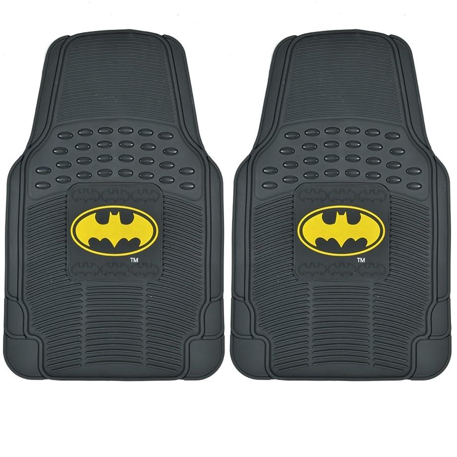 BDK WMT1372 Black Batman Rubber Mats for Car SUV Van & Truck-Trimmable Fit-2 Pieces for Driver & Passenger Seat Floor Protection