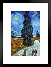 Vincent Van Gogh Country Road in Provence by Night 1890 Painting Poster - 12x18 Art Print Framed Matted in Black Wood 26x2...