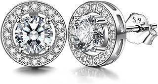 J.SHINE 925 Sterling Silver Stud Earrings for Women Men 3A 6mm Round Cut Cubic Zirconia Unisex Earrings