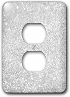 3D Rose LSP_252114_6 Image of Silver Sparkly Style in Luxury 2 Plug Outlet Cover