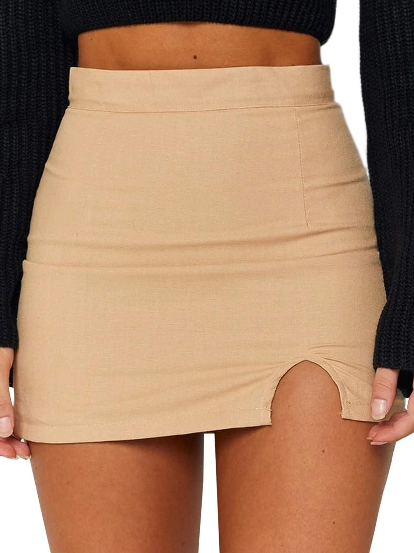 Justalwart Women's High Waist Mini Bodycon Skirt Short Wrap Skirt