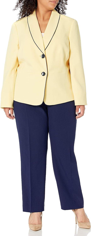 Le Suit Women's Plus Size 2 Button Shawl Collar Seamed Crepe Slim Pant Suit