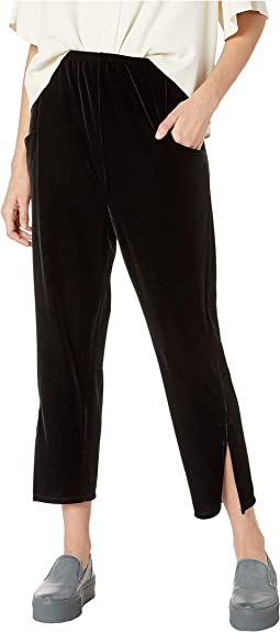 Stretch Velvet Slit Side Track Pants