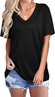 NSQTBA V Neck T Shirts for Women Loose Fit Soft Tops Basic Tees Casual