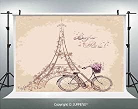 Photography Backdrops Bonjour Paris Eiffel Tower and Vintage Bicycle with Flowers Retro Soft Color Print 3D Backdrops for Photography Backdrop Photo Background Studio Prop