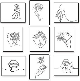 9 Pièces Tirages d'Art Mural Minimaliste Décoration Murale Minimaliste Femme sans Cadre 8 x 10 Pouces Affiche Esthétique F...