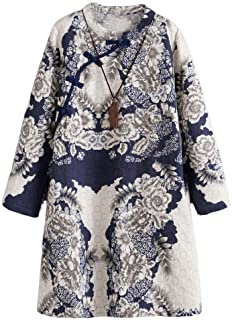 Minibee Women's A-Line Dress Ethnic Floral Print Dresses Long Sleeve Retro Linen Tunic