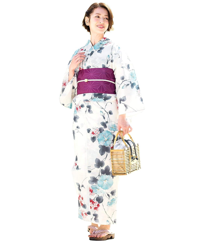 (ソウビエン) 浴衣 セット レディース 白系 アイボリー 水色 紫 朝顔 花 綿 夏 半幅帯 マクレ ボヌールセゾン