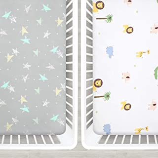 Designthology U.S. Printed 100% Cotton Muslin Fitted Crib Sheet for Standard Crib and Toddler Mattresses for Boys and Girls, White Lion & Gray Stars
